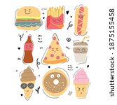 fast food snack with cute face... | Shutterstock .eps vector #1875155458