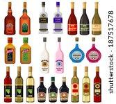set alcoholic beverages. raster ...   Shutterstock . vector #187517678
