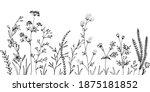 black silhouettes of grass ... | Shutterstock .eps vector #1875181852