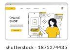 woman makes an online payment... | Shutterstock .eps vector #1875274435