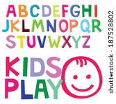 fun color font for kids. child... | Shutterstock .eps vector #187528802