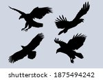 Four Eagles Flying Silhouettes...