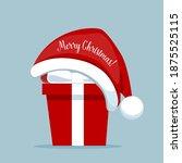 christmas gift box with santa... | Shutterstock .eps vector #1875525115