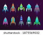 cartoon space rockets vector...   Shutterstock .eps vector #1875569032