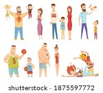 happy young family. dad  mom... | Shutterstock . vector #1875597772