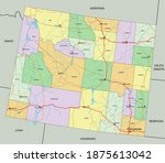 wyoming   highly detailed... | Shutterstock .eps vector #1875613042