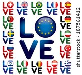 love europe   glossy button... | Shutterstock .eps vector #187561412