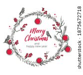 hand drawn new years wreath of... | Shutterstock .eps vector #1875672718