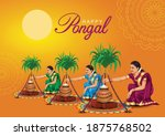 happy pongal celebration with... | Shutterstock .eps vector #1875768502
