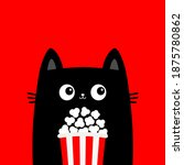 black cat holding popcorn box....   Shutterstock .eps vector #1875780862
