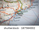 nice city on a road map | Shutterstock . vector #187584002