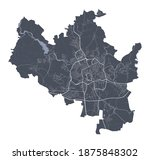 Brno map. Detailed vector map of Brno city administrative area. Cityscape poster metropolitan aria view. Dark land with white streets, roads and avenues. White background.