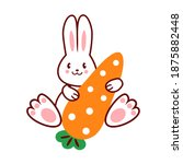 cute easter bunny with carrot. ... | Shutterstock .eps vector #1875882448