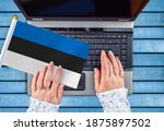Woman Hands And Flag Of Estonia ...