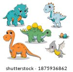 set of isolated funny cartoon...   Shutterstock .eps vector #1875936862