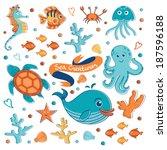 cute sea creatures collection.... | Shutterstock .eps vector #187596188