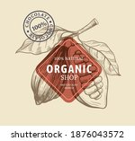 cocoa with leaves in sketch...   Shutterstock .eps vector #1876043572
