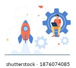 happy guy developing project... | Shutterstock .eps vector #1876074085