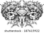 aries.skull with horns. gothic... | Shutterstock .eps vector #187615922