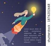 women with shine lamp flying on ...   Shutterstock .eps vector #1876202668