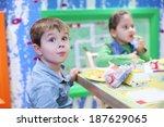 little handsome boy and girl... | Shutterstock . vector #187629065