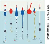 fishing floats and hooks ...   Shutterstock .eps vector #187631138