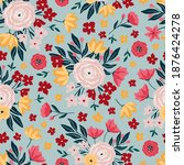 seamless pattern with bright...   Shutterstock .eps vector #1876424278