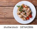 Stew Chicken With Mushrooms On...