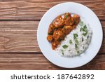rice with chicken in curry... | Shutterstock . vector #187642892