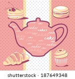 four cakes and teapot | Shutterstock .eps vector #187649348