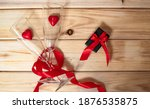Red Heart Shaped Ribbon Red...