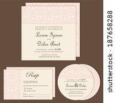 set of wedding invitation or... | Shutterstock .eps vector #187658288