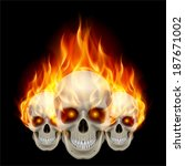 Three Flaming Skulls With Fier...