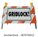 Постер, плакат: Gridlock Sign Barrier Barricade