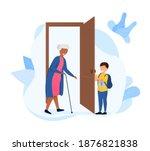 little boy opening the door to... | Shutterstock .eps vector #1876821838