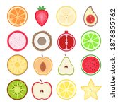 fruits halves set. tropical and ... | Shutterstock .eps vector #1876855762