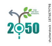 achieving co2 net zero... | Shutterstock .eps vector #1876879798
