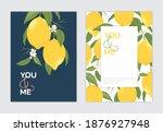 lemon fruit with flower... | Shutterstock .eps vector #1876927948