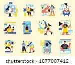 influencer marketing color set...   Shutterstock .eps vector #1877007412