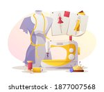 sewing machine  mannequin ...   Shutterstock .eps vector #1877007568
