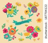 retro flowers in vector. cute... | Shutterstock .eps vector #187704122