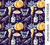 watercolor happy halloween...   Shutterstock . vector #1877053828