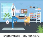 workplace workout flat color... | Shutterstock .eps vector #1877054872