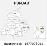 punjab map. political and... | Shutterstock .eps vector #1877078062