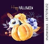 watercolor happy halloween...   Shutterstock . vector #1877078152