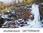 Rock Climber Climbs The Winter...