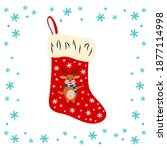 christmas sock with the image...   Shutterstock .eps vector #1877114998