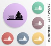 ironing badge color set icon....