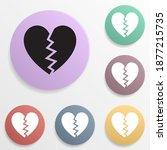 broken heart badge color set...