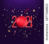 realistic 2021 red numbers ...   Shutterstock .eps vector #1877368822